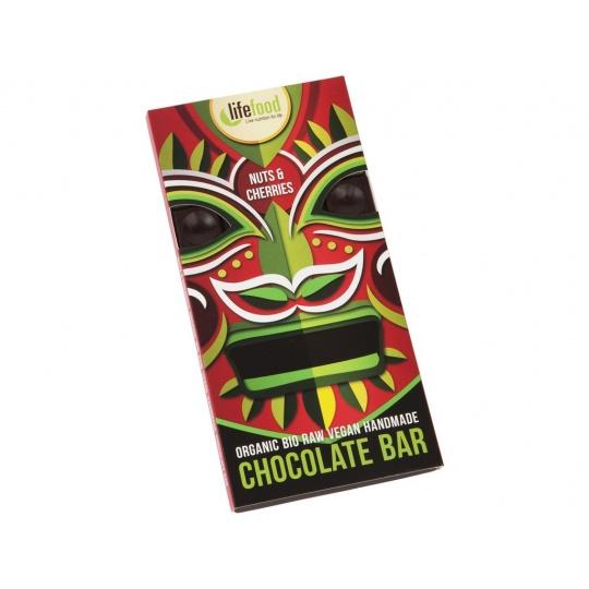 Bio Lifefood Chocolate s kousky ořechů a třešní 70g